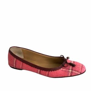 J. CREW Plaid Wool Ballet Flats With Bow 8